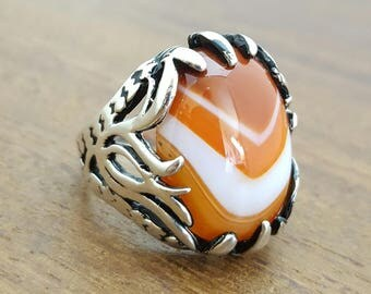 Handmade Silver Mens Ring With Natural Agate Stone