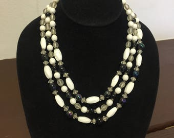 Vintage triple strand beaded Japan necklace