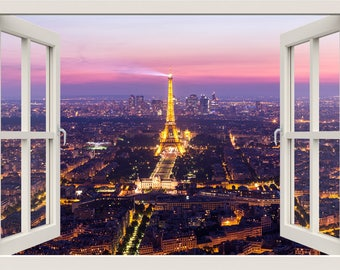 Eiffel Tower Wall Decal, 3d Window Wall Decal, Paris WindowView Frame Wall  Decal, Part 34