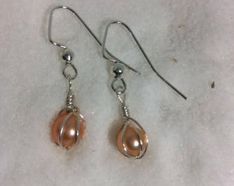 Dangle Pearl Wire Wrapped Earrings