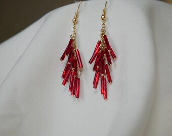 Red and Gold Dangle Swish Earrings