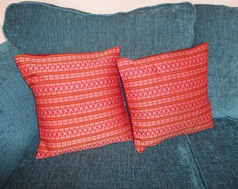 Red and Orange Geometric Patterned Cushion Covers