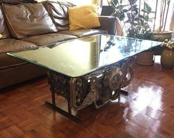 Elegant handmade engine table