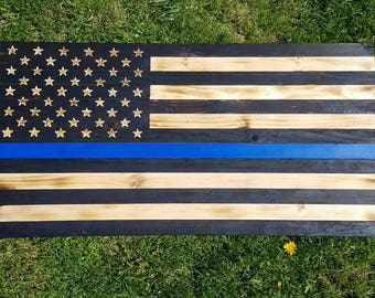 Thin Blue Line Wooden Flag 20x40 **FREE SHIPPING