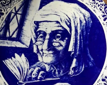 Old Woman and Book - Antique Plate by Boch La Louviere Delfts