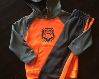 LITTLE BOYS orange/grey bulldog hoodie set