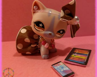 Littlest Pet Shop LPS Custom Clothes + Accessories Lot - Pink & Brown Polka-Dot Outfit Set + Gift Bag