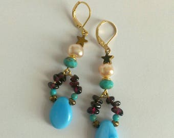 Earrings Garnet, Pearl, turquoise and glass