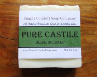 "Pure Castile Olive Oil Soap for Sensitive Skin-For Free Shipping on orders of 2 or more use ""FREESHIPPING"" Code"