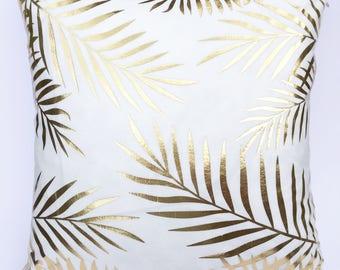 Gold Palm Leaf Cushion Cover