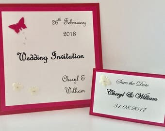 Handmade Wedding Invitation, Save the Date, Pink and Red, Butterflies, Gem stones