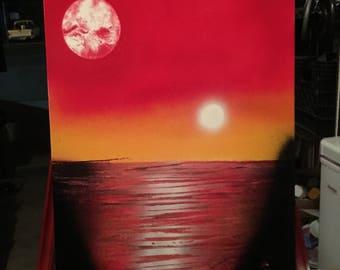 sunset spray painting