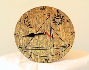 tide clock with anchor or sailing boat design