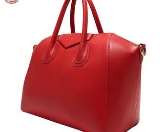 Red leather handbag model Rebecca