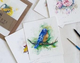 ORIGINAL Watercolor,Bluebird, Bird, Painting, Small Art, Small painting, Miniature art, Bird painting, Gift, watercolor painting,