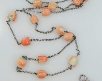 Carved Coral Flowers Sterling Silver Necklace and Matching Bracelet
