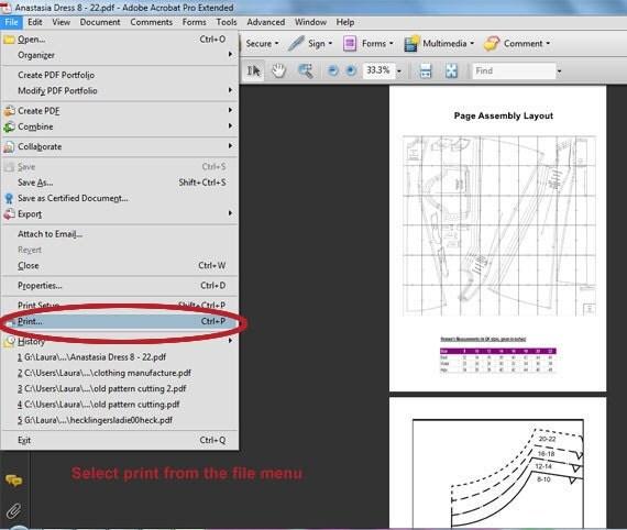 Adobe Acrobat Reader select print