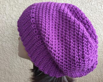 Large size Purple Slouchy Hat, Free Shipping, Slouchy  Beanie,  Boho Hat,  Woman 's slouchy, lady's Crochet Hat,  Trendy Beanie
