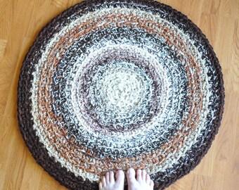 brown crochet rug round rug brown bathroom rug brown round nursery rug