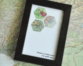 Personalized Map Art Custom Framed Geometric Recycled Hexagon