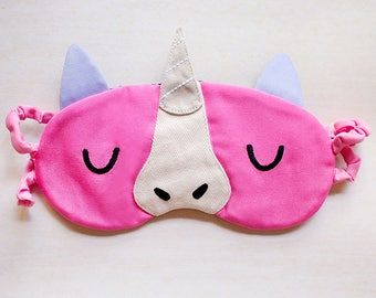 Unicorn Sleep Mask, Eye Cover, Sleep Eye Mask, Sleeping Mask, Sleep eyemask, Unicorn Mask, beauty sleep, blindfold - PINK Color Unicorn