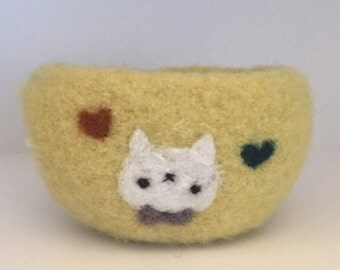 Felted Wool Bowl with Kitty Applique