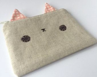 Linen Kitty Zipper Pouch