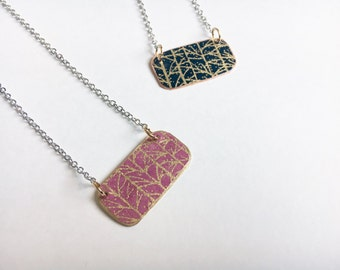 Gold Trees Morning or Night Necklace //Brass/Copper// silver plated necklace