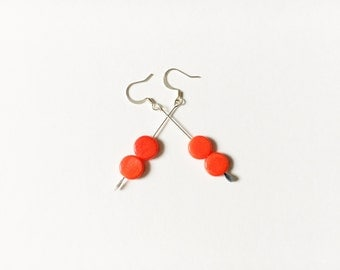 Red Cherry Drop Silver Earrings// Red Valentines Day Gift