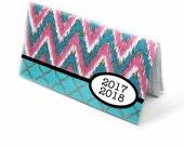 2017 - 2018 mini Planner - ikat chevron, turquoise hot pink, pocket planner - 2 year monthly calendar HORIZONTAL FORMAT stocking stuffer