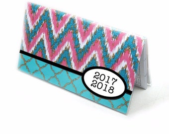 2017 - 2018 mini Planner - ikat chevron, turquoise hot pink, pocket planner - 2 year monthly calendar HORIZONTAL FORMAT stocking stuffer