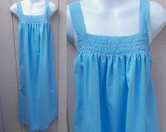 Vintage 70s Blue Smock Sundress / Jumper Dress with hand smocking / Hippie // Sz Sml - Med