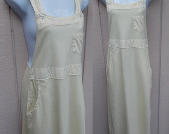 Vintage 90s Overalls Jumper Dress by C2W - Cotton to Wear / Pale Yellow Smock Minimalist midi maxi / Sz Sml