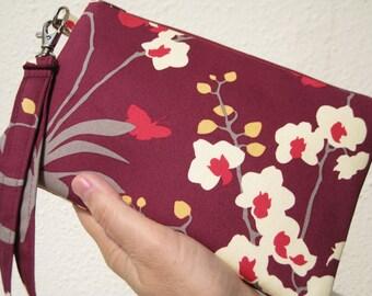 Wedding Clutch, 2 pockets,medium, cotton,discount plan, wristlet, - Orchid