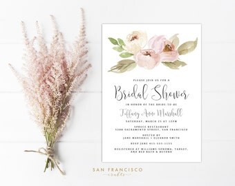 Pink Bridal Shower Invitation INSTANT DOWNLOAD |  Editable Bridal Shower Invite Template | watercolor, blush pink | Tiffany Collection | PDF
