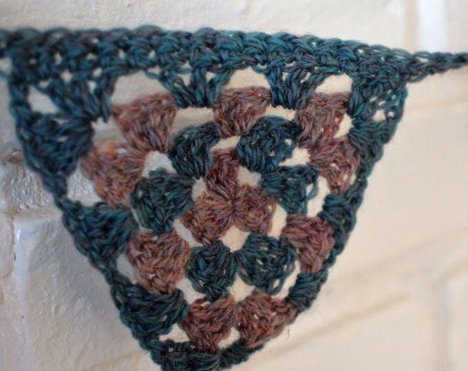 Dark Teal with Tan Bunting Granny Triangle