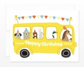 Cute Kids Birthday Card - Birthday Bus Greeting Card, Birthday Card for Boys, for Girls, for Children, Big Yellow Party Bus Card