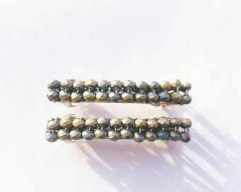 Beaded Barrettes,Two-Toned Steel Blue and Gold Handmade, Set of 2