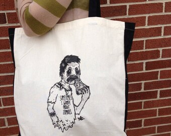SALE Even Zombies Love Pizza Cotton Tote Bag