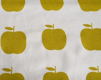 Fabric panel - Apples in yellow ink on hemp-organic cotton. Textiles designed and screen printed in Melbourne.