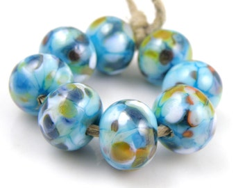 Water Park - Handmade Artisan Lampwork Glass Beads 8mmx12mm - Multicolour, Blue - SRA (Set of 8 Beads)