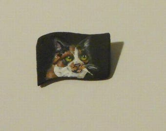 Calico cat Hand Painted mini Pin Brooch OOAk SALE