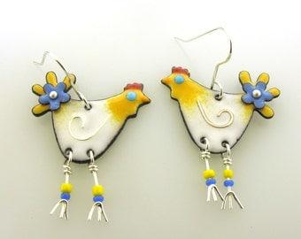 Chicken Earrings, enameled chicken earrings, funky chickens, animal jewelry, colorful chicken jewelry by Kathryn Riechert