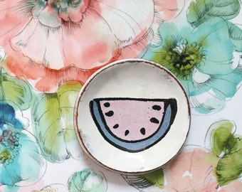 Ceramic spoon rest with watermelon drawing - modern pottery dish chocolate brown rustic white - handmade ceramic spoonrest dish