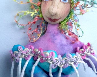 MATISSE in Pinks & Blues, One Of A Kind, Wall Art, Cloth doll, Bambole, textiles, michelledolls, Home Decor, Fantasy, Michelle Munzone
