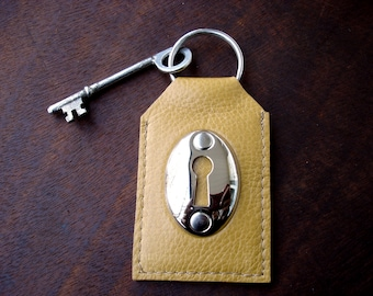Dijon Yellow Leather Key Fob with Keyhole and Vintage Skeleton Key - Mustard Leather Key Chain