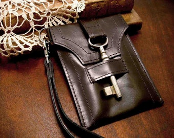 Brown Leather Smartphone Wristlet with Antique Key - Steampunk Wristlet  - Leather Gadget Case Made To Order