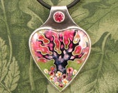 "Enameled Tree ""Spring"" Pendant -  Sterling with faceted Salmon Sorbet CZ stone - OOAK"