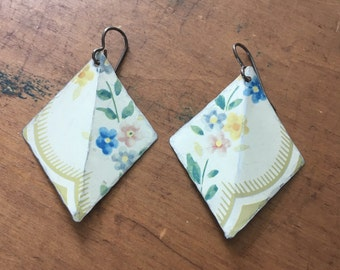 Delicate floral vintage tin earrings