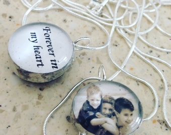 Custom photo glass double sided bubble snowglobe charm on 30 inch sterling silver snake chain
